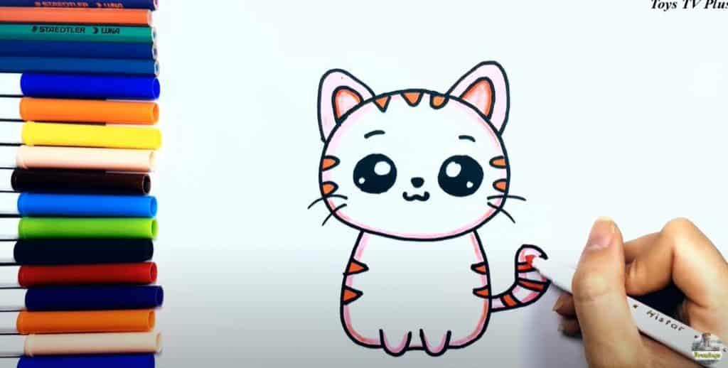 Etape final du dessin d'un chat, le coloriage