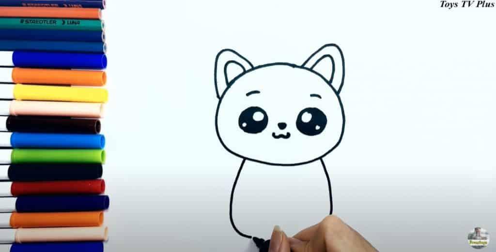 Etape 4 du dessin d'un chat, le corps