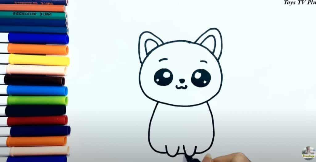 Etape 5 du dessin d'un chat les pattes