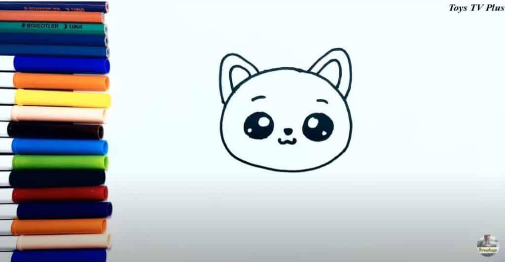 Etape  3 du dessin d'un chat les oreilles